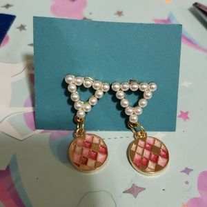 Faux pearl triangle studs with pink and gold charm